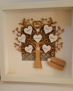 personalised box picture frame family tree grandchildren nans grandads granny