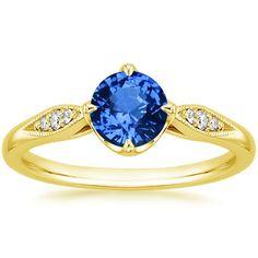 Yellow Gold Sapphire Jolie Diamond Ring from Brilliant Earth Blue Sapphire Rings, Gold Diamond Rings, Diamond Stone, Sapphire Diamond, White Gold Rings, Purple Sapphire, Ceylon Sapphire, Beautiful Rings, Wedding Rings