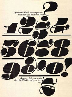 #Numbers U (Upper & lower case) published by International Typeface Corporation. ~ herb lubalin