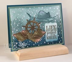 Create with Connie & Mary Saturday Blog Hop featuring Color Me DSP or Color Resist. Stampin' Up! stamp sets Land To Sea & By The Tide. Debbie Henderson, Debbie's Designs.