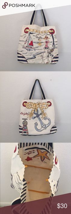 Brighton boardwalk tote Canvas tote bag by Brighton. Exterior is pristine small stains to interior bottom of bag. Beach ready Brighton Bags Totes