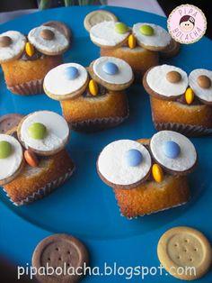 owl DIY cupcake Pipa Bolacha: Queques Mocho