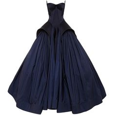 Zac Posen Royal Blue Tafetta Gown ($15,990) ❤ liked on Polyvore featuring dresses, gowns, peplum gown, blue ball gown, electric blue dress, strapless gown and blue gown
