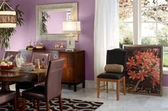 Lightened-up walls and accents give this dining room a playful but sophisticated feel. Shown here: Plum Swirl 680f-5 by Behr. | Photo: Behr | thisoldhouse.com