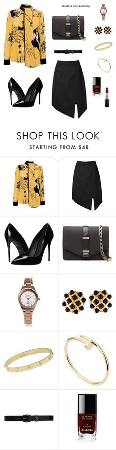 """Black & Yellow workwear"" by lipstick-and-loathing on Polyvore featuring Victoria, Victoria Beckham, Yves Saint Laurent, Dolce&Gabbana, Victoria Beckham, Vivienne Westwood, Chanel, Cartier, Lauren Ralph Lauren, MAC Cosmetics and women's clothing"