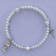 First Communion White Pearl Wrap Bracelet