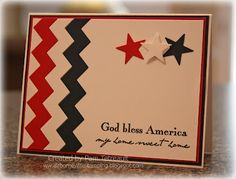 handmade card for the Fourth of July ... like the red, white & blue rickrack die cut as strips and punched stars ... great sentiment too ...