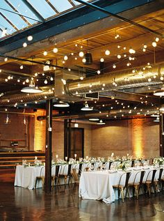 Chicago Wedding Morgan Manufacturing, Industrial Reception Space with Lights Chicago Wedding Venues, Best Wedding Venues, Wedding Locations, Wedding Themes, Wedding Tips, Dream Wedding, Wedding Stuff, Wedding Decorations, Loft Wedding Reception