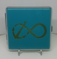 Ninc Teal Double Sided PU Leather Anchor Sign King Size Cigarette Case