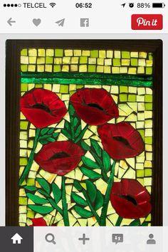 Rosas en vidrio
