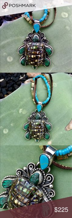 """Francisco Gomez Sterling Handcarved Turtle Pendant Hand wrought in Sterling Silver by Spanish Master Silversmith and Carver, This wonderful Turtle Pendant is Handcarved from Shell, with Jasper Feet and Head, and Bail accented by Turquoise. It measures 2 3/4"""" x 2"""" wide. I'm showing it with strands of Beads. It will hold up to a chain or Beads 1/2"""" wide- Have fun with your designs like I do!! 32.g Francisco Gomez Jewelry Necklaces"""