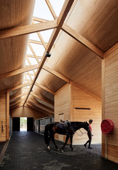 Elongated skylight illuminates Chilean stables by Matias Zegers Architects – Structure - architecture house Timber Architecture, Timber Buildings, Concept Architecture, Architecture Details, Roof Design, Ceiling Design, Art Design, Villa Del Carbon, Timber Roof