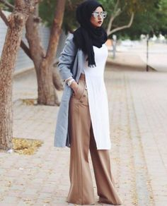 beige palazzo pants with hijab- Beautiful hijab trends 2016 http://www.justtrendygirls.com/beautiful-hijab-trends-2016/