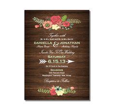 Wood Wedding Invitation with Bright Flowers DIY PRINTABLE Digital File or Print (extra), $16.99
