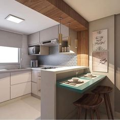 49 Affordable Farmhouse Kitchen Ideas on A Budget Kitchen Interior, Kitchen Decor, Room Interior, Kitchen Bar Design, Kitchen On A Budget, Kitchen Sets, Cuisines Design, Small Apartments, Small Spaces