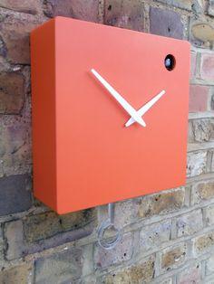 Modern orange cuckoo clock with moving bird &  by pedromealha, £205.00