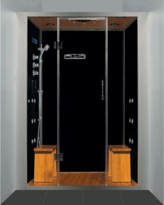 luxury steam shower alcove enclosure with multi body massage water jets black stone base