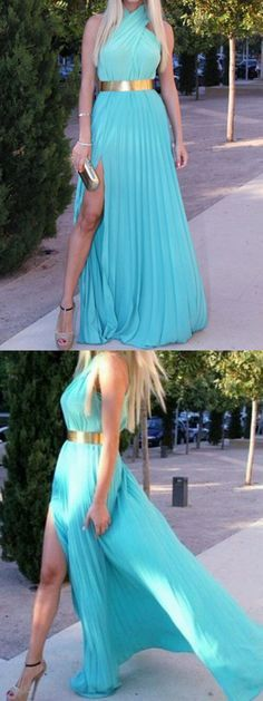 Blue Prom Dresses,Ruffled Evening Gowns,Sexy Formal Dresses,Halter Prom Dresses,2016 Fashion Evening on Luulla