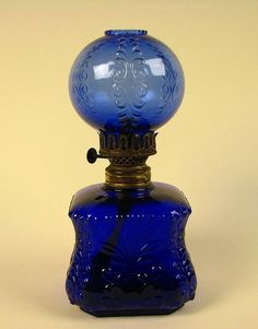 Antique miniature cobalt blue oil lamp