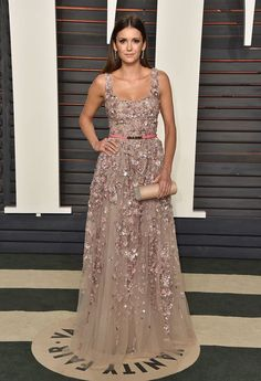 Nina+Dobrev in Elie Saab attends the Vanity Fair Oscars After Party