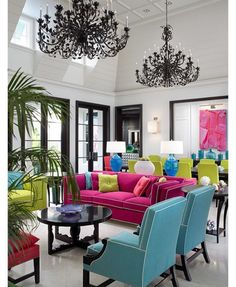 This IS my future home design! A very traditional arrangement of very traditional furniture that just happens to be done in neon brights. It has an urban, pop art feel. Contemporary living room by John David Edison Interior Design Inc. What's My Favorite Color, Decoration Inspiration, Decor Ideas, Colour Inspiration, Bathroom Inspiration, Home And Deco, Design Case, Style At Home, Interiores Design