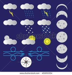 weather forecast icons set vector format illustration - stock vector