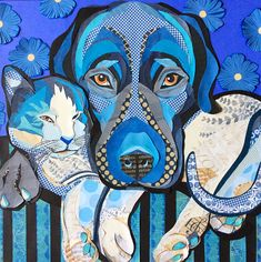 """Rhythm & Ol' Blue"" cut paper collage on deep cradled panel 30""x30"" by Laura Yager. Dog cat artwork"