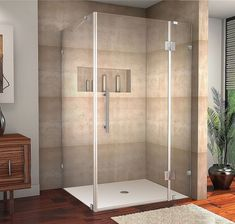 """Aston SEN987-4238-10 Avalux 42"""" Wide x 38"""" Deep x 72"""" High Frameless Hinged Show Stainless Steel Showers Shower Enclosures Hinged"""