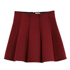 Outstanding Ordinary  Burgundy Skater Skirt: Simple, burgundy skater skirt  by Korean Designer Outstanding Ordinary. Made with a super soft stretch fabric, this skirt is so unbelievably comfortable! Looks great paired with a basic white t-shirt tucked in. - Mini skirt - Soft, stretch fabric - Panel details, giving the skater girl shape - Raw edge at the bottom - Contrast lining  - Elastic waistband - Zip fastening at the back