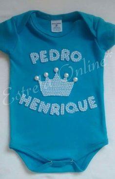 Body personalizado em perolas com o nome do seu príncipe..    Body 100% algodão varias cores...    Do P ao EXG