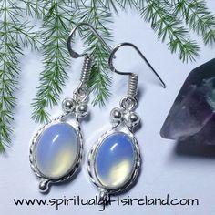 Opalite Crystal Gemstone Earrings Sterling Silver