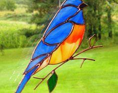 Blue Bird - Large Stained Glass Bird Suncatcher 82617
