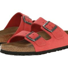 BIRKENSTOCK coral colored SOFT FOOTBED size 38 These are the super soft and cozy footbed Birkenstocks. Beautiful salmon/coral pink color. Size 38 fits US size 7.5 or 8.  Great condition, worn 4 or 5 times Birkenstock Shoes Sandals