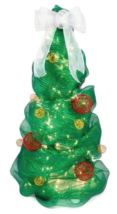 deco mesh christmas tree tutorial - 3 foot tall tree using a tomato cage with 100 bulb strand of lights attached with wire - then start at top and wrap mesh around cage, attaching it with wire - bow at the top - ornaments wired on - good tutorial, with lots of pictures!
