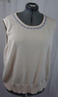 JUDITH HART SHELL WOMEN Plus Size 3X Ivory Neckline Adorned Silk, Nylon,Viscos  #JudithHart #Shell #YourChoice
