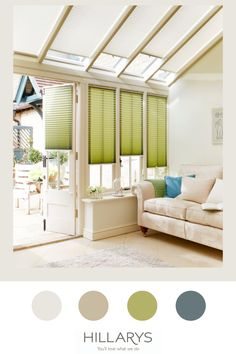 Earthy, natural and fresh, green is a colour that oozes vibrant life. The solar reflective coating on this fabric helps gives your space the cool, fresh feel that this fabric embodies.Pletaed blinds are neat and sleek style that gives your conservatory a contemporary and practical look, especially ones that need something that subtly tucks away without any fuss. View more of our range of conservatory blinds. Conservatory Ideas, Cream Decor, Green Cream, Fresh Green, About Uk, Earthy, Blinds, Solar, Vibrant