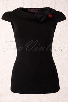 Vixen - 50s Vintage Red Rose Top in Black