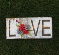 Custom HOME or LOVE wood sign with handmade by SweetLouiseCrafts