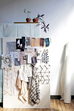 Rebecca Atwood Howland Collection Inspiration - love the soft grid pattern for drapery Image Mode, Hm Home, Creative Studio, Textile Design, Decoration, Office Decor, Ladder Decor, Design Inspiration, Room Inspiration