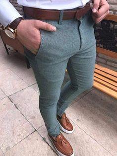 Mens High-Waist Sim Fit Casual Pants - Men Dress Pants - Ideas of Men Dress Pants Indian Men Fashion, Mens Fashion Suits, Fashion Pants, Fashion Clothes, Men's Fashion, Vintage Suit, Fashion Business, Mens Clothing Styles, Men's Clothing