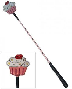 """Ruff Doggie Cupcake Delight Crop - 25"""" long and as tasty as it is impactful. The cupcake shaped head is made of leather and suede, the shaft is pink and black nylon and the handle is leather wrapped. It's delicious! $22.85"""