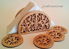 Scroll Saw Patterns :: Handy items :: Napkin/Serviette holders & coasters -