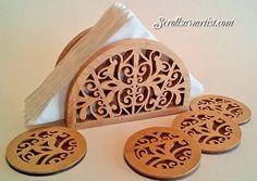 Scroll Saw Patterns :: Handy items :: Napkin/Serviette holders & coasters -