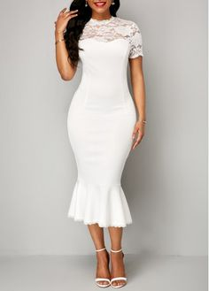 Shop white Dresses online,Dresses with cheap wholesale price,shipping to worldwide White Sheath Dress, Lace Midi Dress, White Dress, White Peplum, Sheath Dresses, White Lace, Party Dress Sale, Club Party Dresses, Wedding Dresses