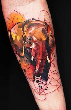 Watercolor tattoo elephant blk/ red