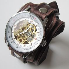 Vintage Men's Leather Cuff Watch Bracelet Wristband Handmade Brown, Bracelet Watch, Mens Gift