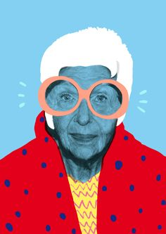 Iris Apfel print by Jordan Andrew Carter. An 8 layer, full colour screen print off the American Business Women, Interior Designer and Fashion Icon – Iris Apfel. Graphic Design Illustration, Photo Illustration, Digital Illustration, London Illustration, Graphic Art Prints, Photography Illustration, Lino Prints, Block Prints, Art Pop