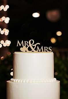 Mr and Mrs Wedding Cake Toppers with Heart Rustic Cake Topper -- Check out this great image @ : Baking tools