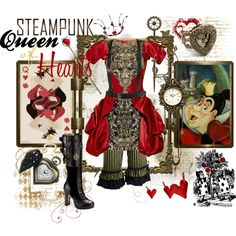 """Steampunk: Queen of Hearts"" by ghsdrummajor on Polyvore"