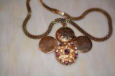 Vintage Art Deco Signed Lisner Mesh Necklace with 4-Way Photo Locket Rhinestone #Lisner #Locket